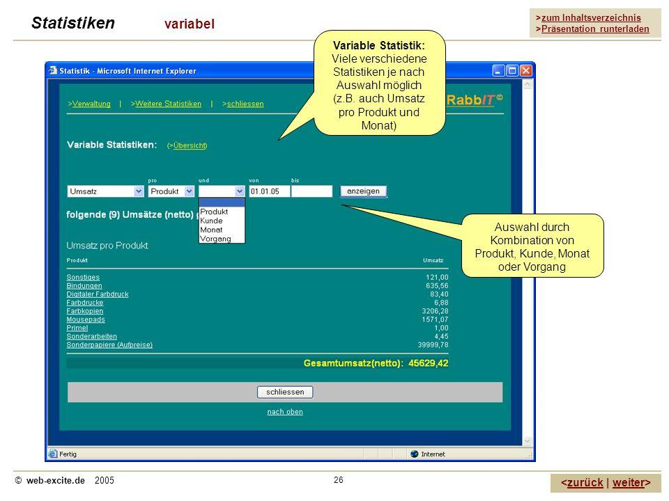 >zum Inhaltsverzeichnis >Präsentation runterladen zurückweiter © web-excite.de 2005 26 Statistiken variabel Variable Statistik: Viele verschiedene Sta