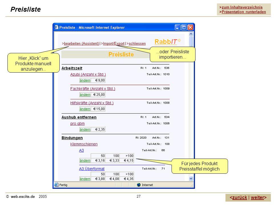 >zum Inhaltsverzeichnis >Präsentation runterladen zurückweiter © web-excite.de 2005 27 Preisliste Hier Klick um Produkte manuell anzulegen... Für jede