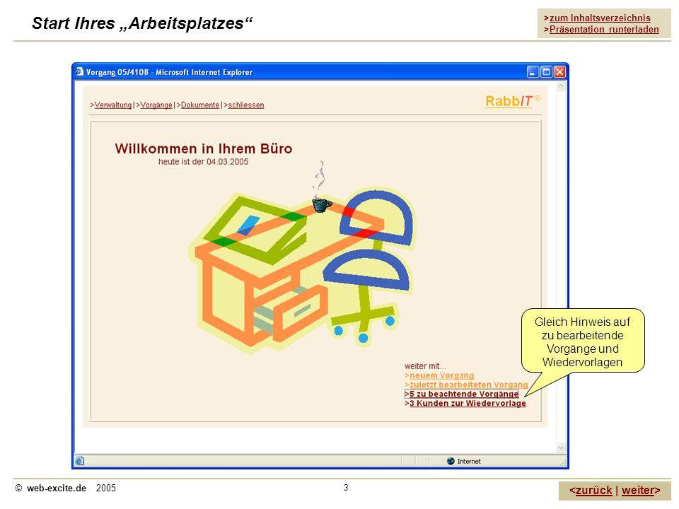 >zum Inhaltsverzeichnis >Präsentation runterladen zurückweiter © web-excite.de 2005 3 Start Ihres Arbeitsplatzes Gleich Hinweis auf zu bearbeitende Vo