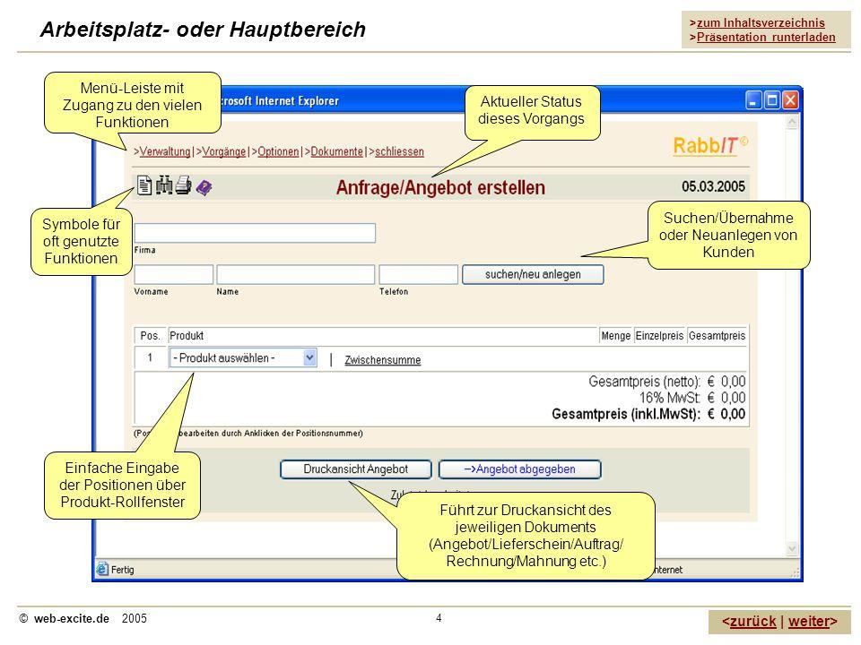 >zum Inhaltsverzeichnis >Präsentation runterladen zurückweiter © web-excite.de 2005 4 Arbeitsplatz- oder Hauptbereich Symbole für oft genutzte Funktio