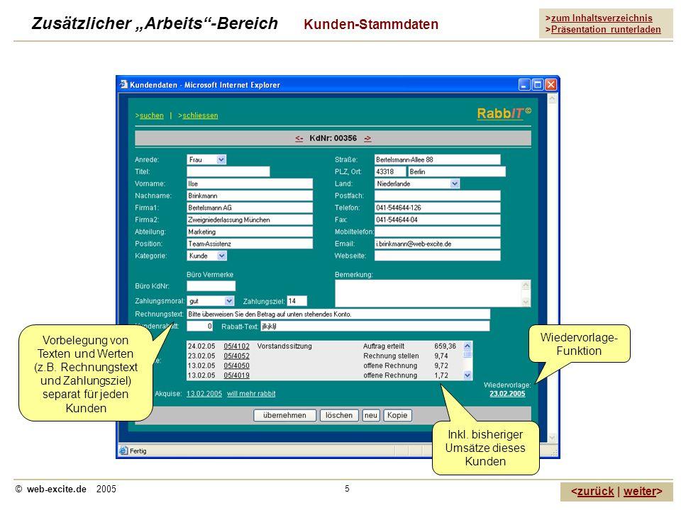 >zum Inhaltsverzeichnis >Präsentation runterladen zurückweiter © web-excite.de 2005 5 Zusätzlicher Arbeits-Bereich Kunden-Stammdaten Vorbelegung von T
