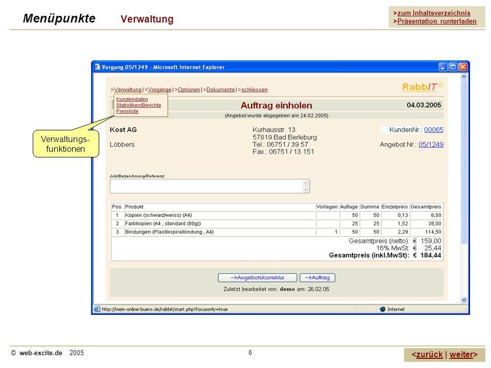 >zum Inhaltsverzeichnis >Präsentation runterladen zurückweiter © web-excite.de 2005 6 Menüpunkte Verwaltung Verwaltungs- funktionen