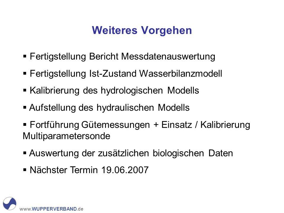 www.WUPPERVERBAND.de Weiteres Vorgehen Fertigstellung Bericht Messdatenauswertung Fertigstellung Ist-Zustand Wasserbilanzmodell Kalibrierung des hydro