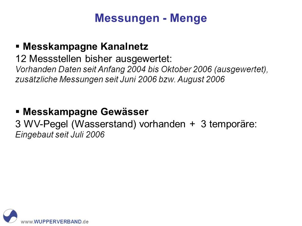 www.WUPPERVERBAND.de Messungen - Menge Messkampagne Kanalnetz 12 Messstellen bisher ausgewertet: Vorhanden Daten seit Anfang 2004 bis Oktober 2006 (au