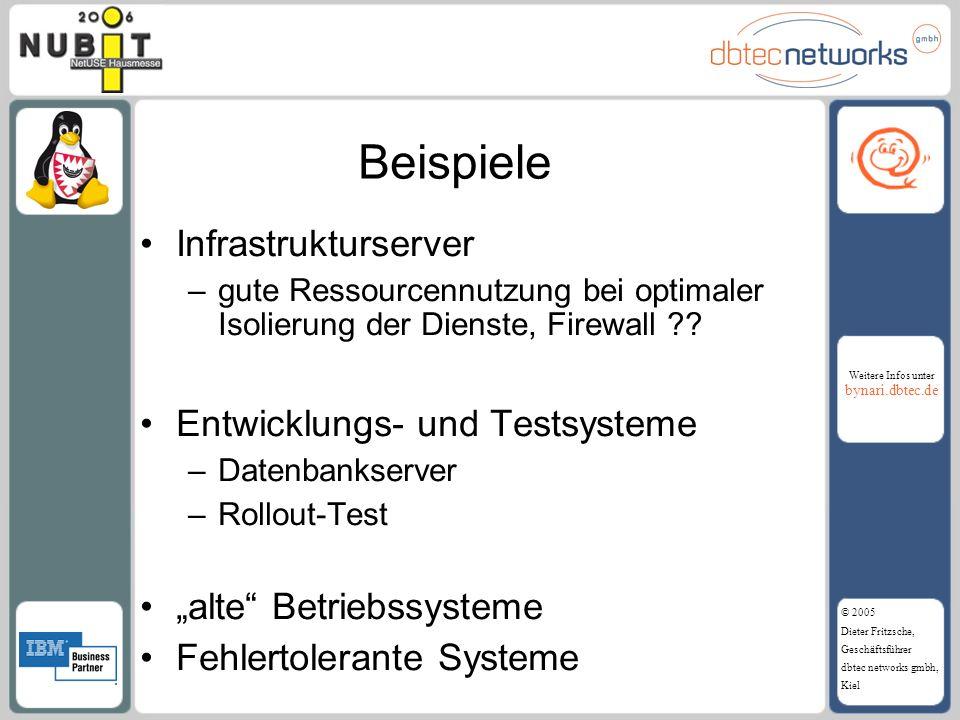 Weitere Infos unter bynari.dbtec.de © 2005 Dieter Fritzsche, Geschäftsführer dbtec networks gmbh, Kiel Beispiele Infrastrukturserver –gute Ressourcenn