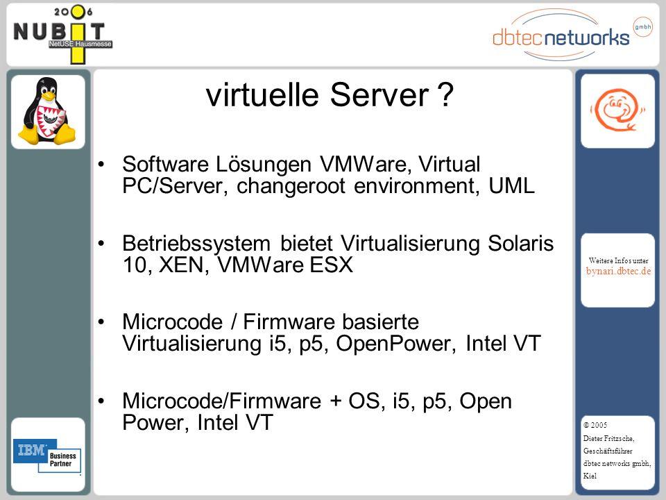 Weitere Infos unter bynari.dbtec.de © 2005 Dieter Fritzsche, Geschäftsführer dbtec networks gmbh, Kiel virtuelle Server ? Software Lösungen VMWare, Vi
