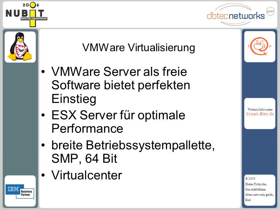 Weitere Infos unter bynari.dbtec.de © 2005 Dieter Fritzsche, Geschäftsführer dbtec networks gmbh, Kiel VMWare Virtualisierung VMWare Server als freie