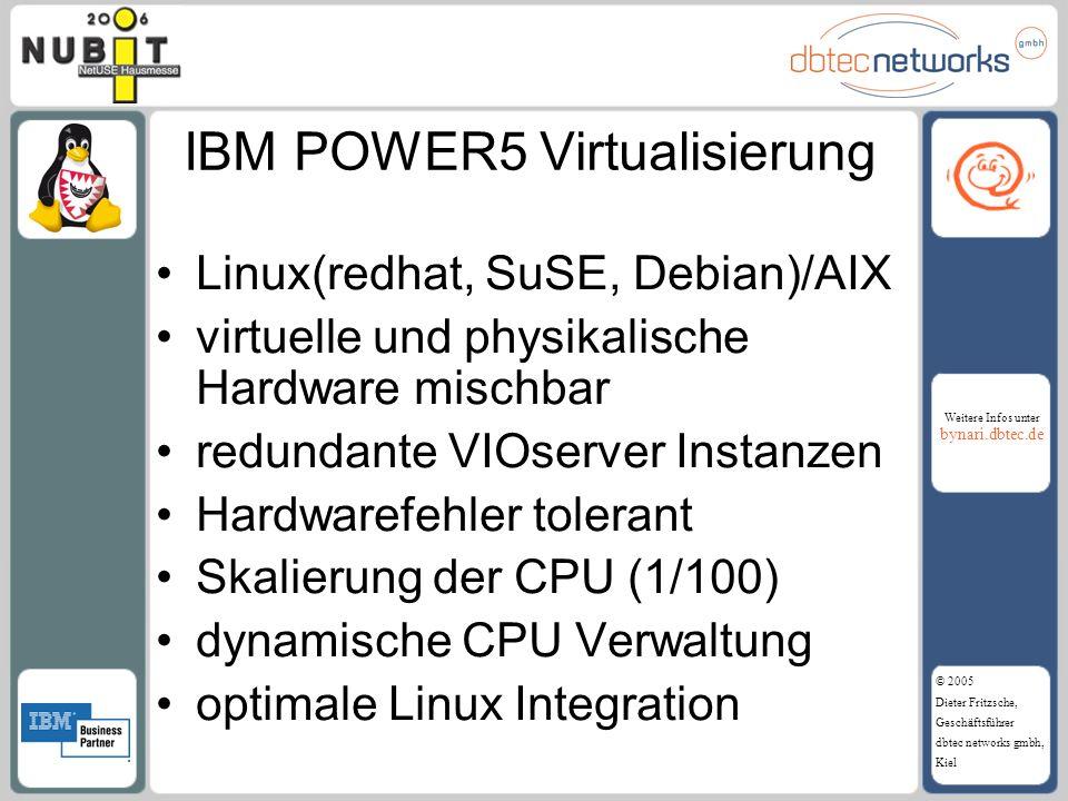 Weitere Infos unter bynari.dbtec.de © 2005 Dieter Fritzsche, Geschäftsführer dbtec networks gmbh, Kiel IBM POWER5 Virtualisierung Linux(redhat, SuSE,