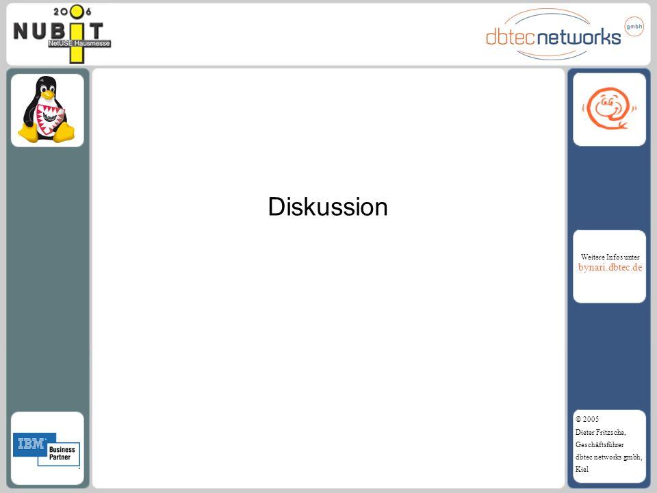 Weitere Infos unter bynari.dbtec.de © 2005 Dieter Fritzsche, Geschäftsführer dbtec networks gmbh, Kiel Diskussion