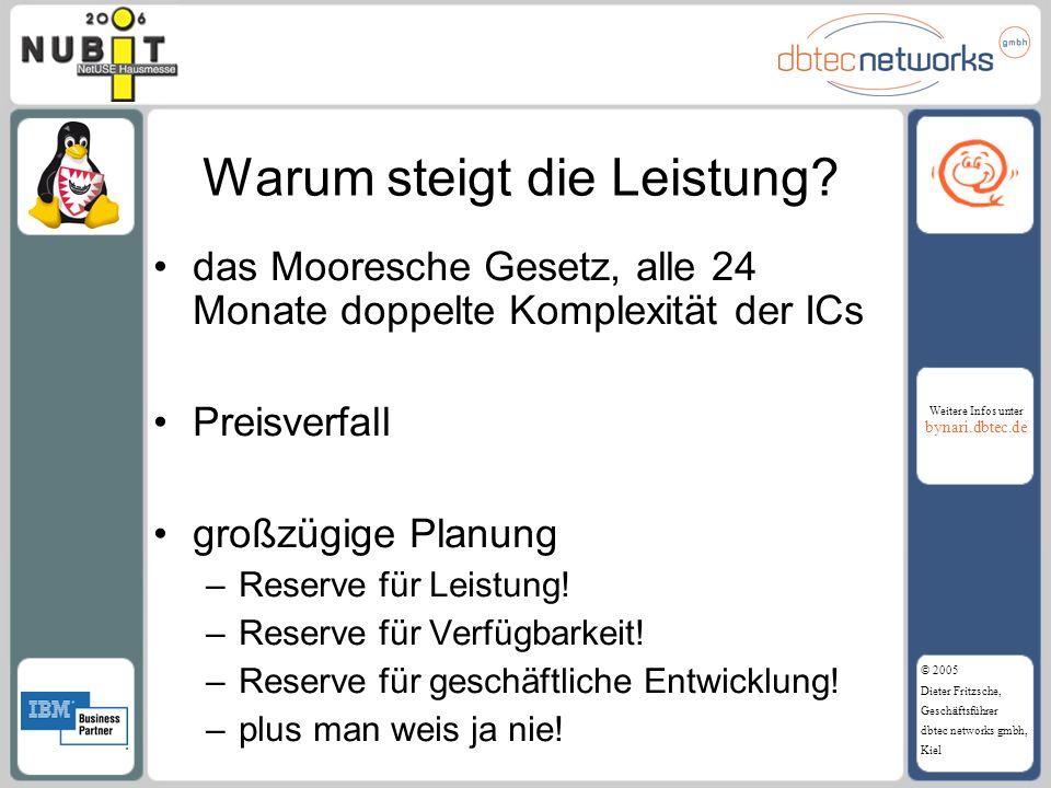 Weitere Infos unter bynari.dbtec.de © 2005 Dieter Fritzsche, Geschäftsführer dbtec networks gmbh, Kiel Warum steigt die Leistung? das Mooresche Gesetz