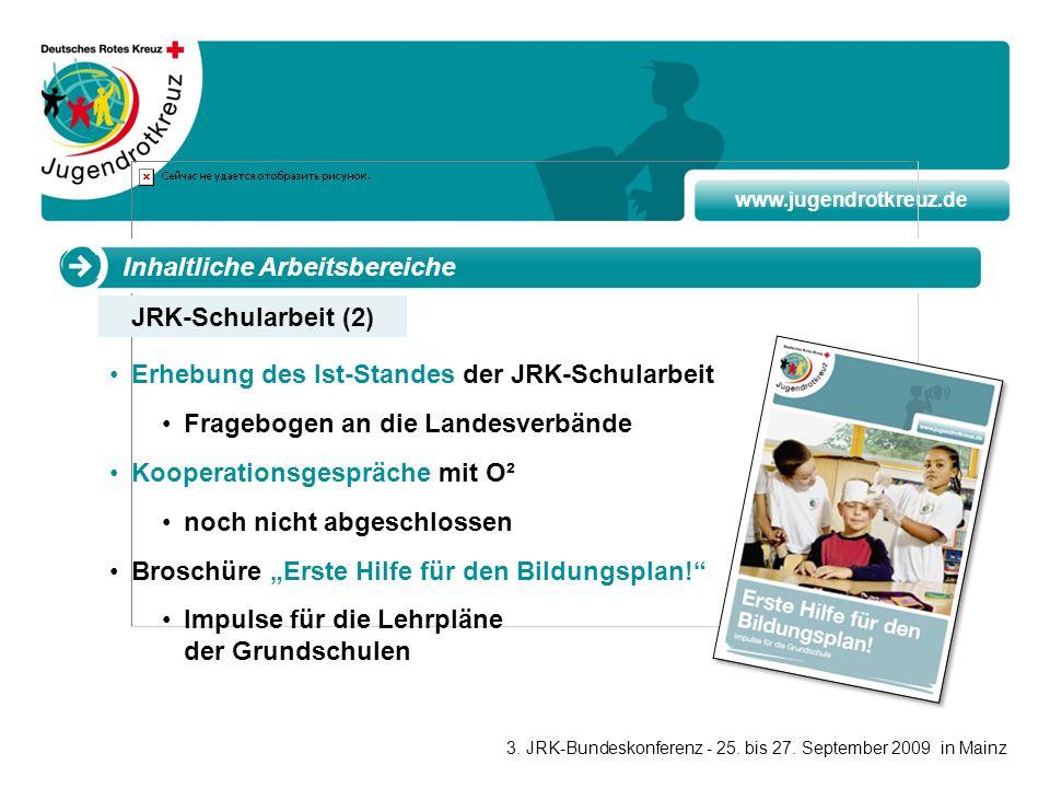 www.jugendrotkreuz.de Inhaltliche Arbeitsbereiche Erhebung des Ist-Standes der JRK-Schularbeit Fragebogen an die Landesverbände Kooperationsgespräche