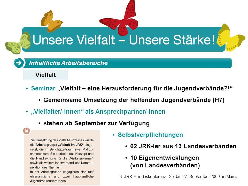 www.jugendrotkreuz.de Inhaltliche Arbeitsbereiche Seminar Vielfalt – eine Herausforderung für die Jugendverbände?! Gemeinsame Umsetzung der helfenden