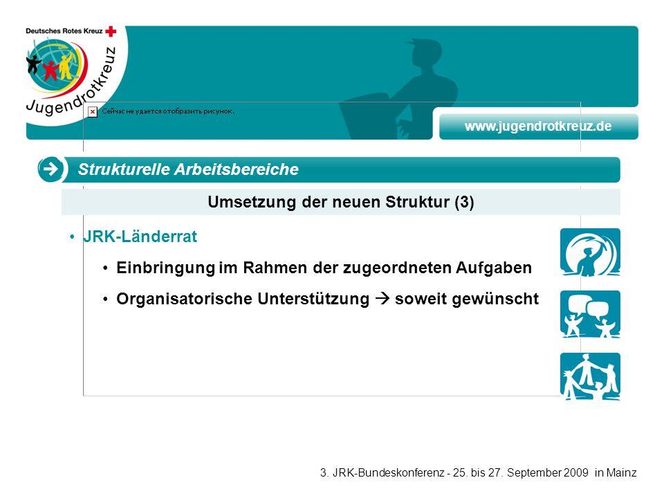 www.jugendrotkreuz.de JRK-Länderrat Einbringung im Rahmen der zugeordneten Aufgaben Organisatorische Unterstützung soweit gewünscht Umsetzung der neue