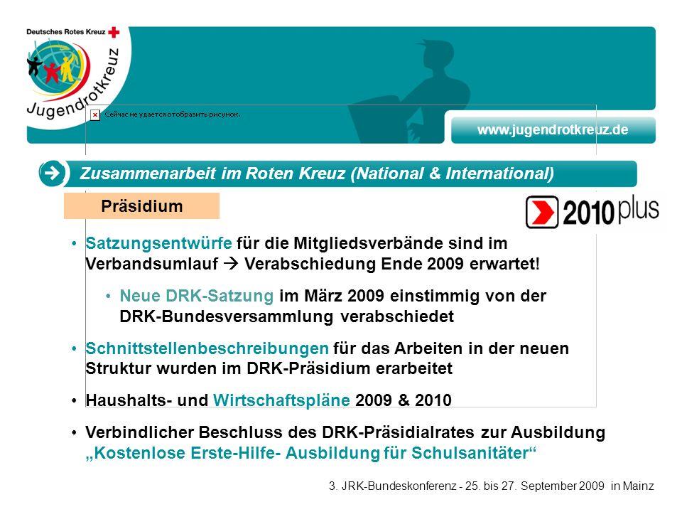 www.jugendrotkreuz.de Präsidium Zusammenarbeit im Roten Kreuz (National & International) Satzungsentwürfe für die Mitgliedsverbände sind im Verbandsum