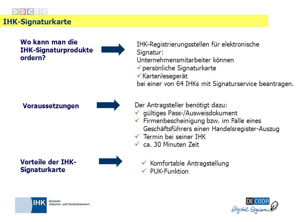 IHK-Registrierungsstellen für elektronische Signatur: Unternehmensmitarbeiter können persönliche Signaturkarte Kartenlesegerät bei einer von 64 IHKs m