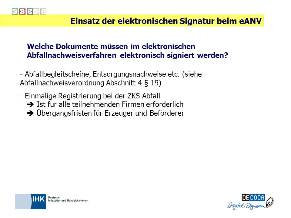 Welche Dokumente müssen im elektronischen Abfallnachweisverfahren elektronisch signiert werden? Einsatz der elektronischen Signatur beim eANV - Abfall