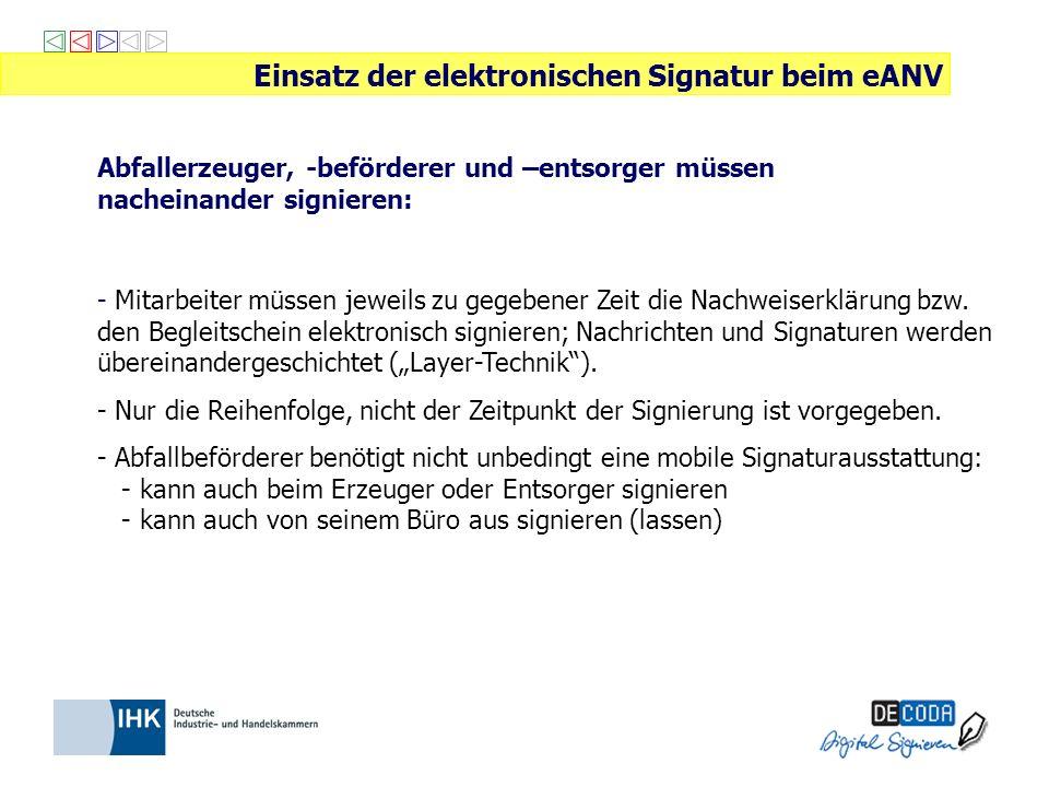 Abfallerzeuger, -beförderer und –entsorger müssen nacheinander signieren: Einsatz der elektronischen Signatur beim eANV - Mitarbeiter müssen jeweils z