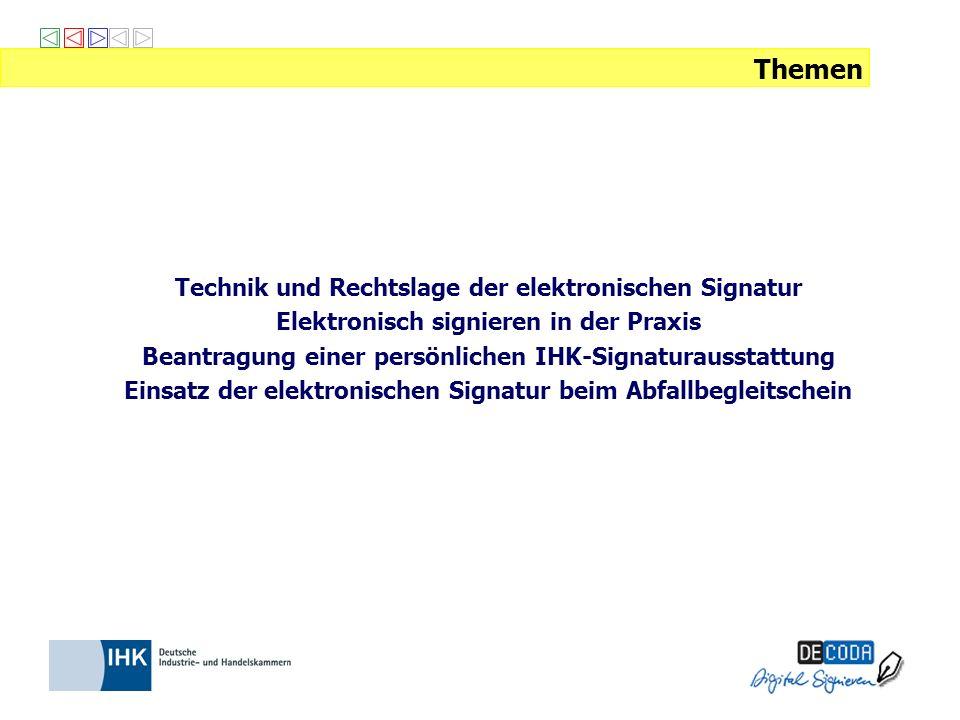 DE-CODA GmbH entwickelt Konzepte für den Einsatz der elektronischen Signatur berät und schult Sie zum Einsatz der elektronischen Signatur setzt sich für einheitliche technische Standards und Qualitätskriterien ein koordiniert die Aktivitäten von 64 Industrie- und Handelskammern zur elektronischen Signatur Elektronische Signatur