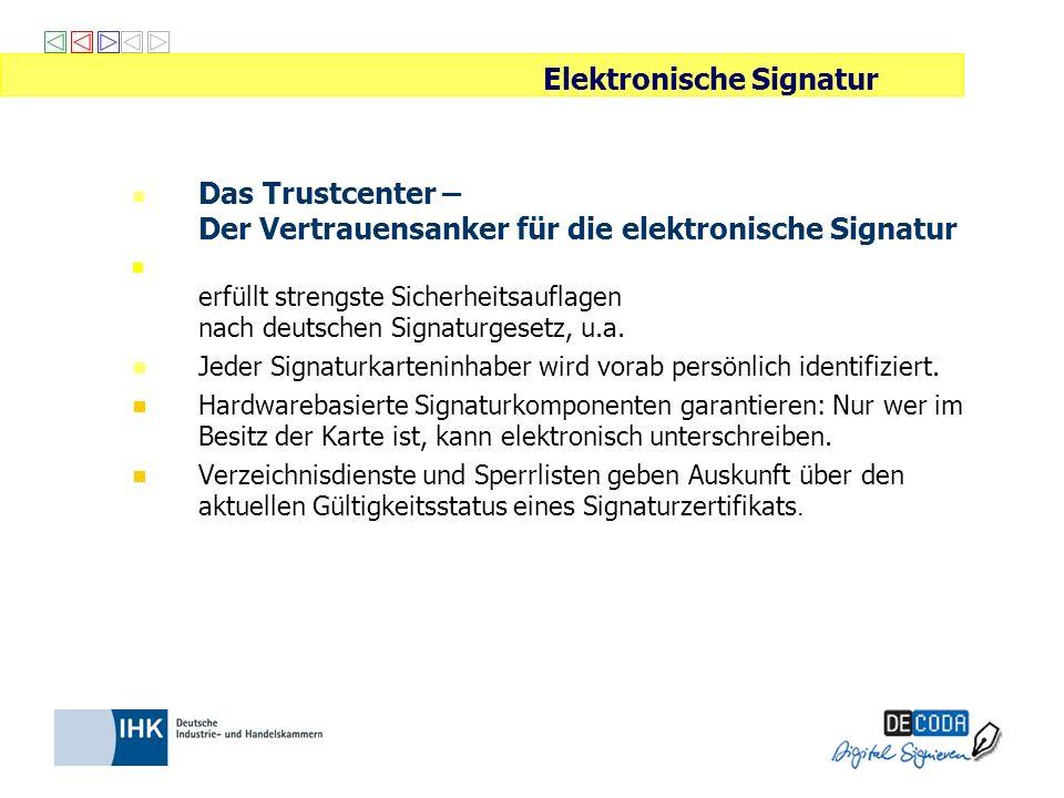 Das Trustcenter – Der Vertrauensanker für die elektronische Signatur erfüllt strengste Sicherheitsauflagen nach deutschen Signaturgesetz, u.a. Jeder S