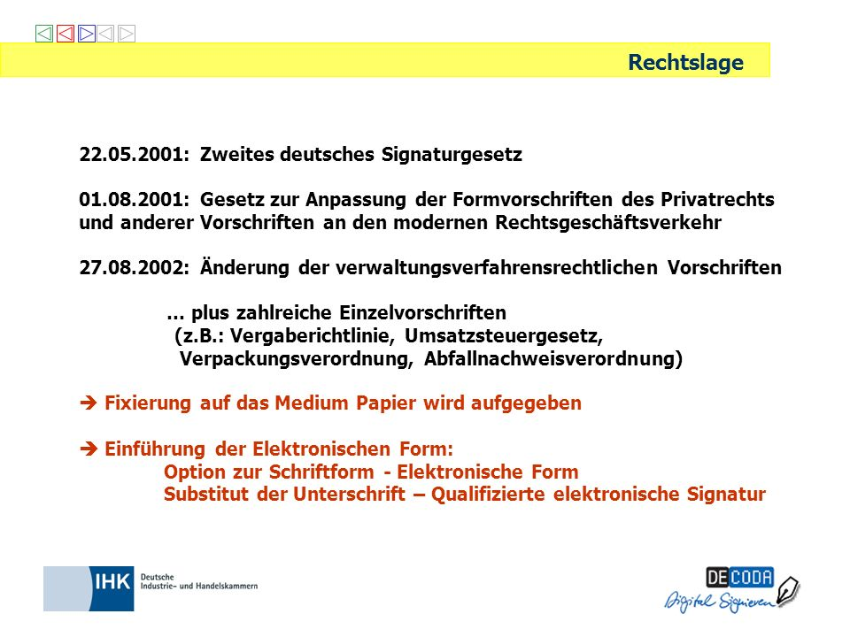 22.05.2001: Zweites deutsches Signaturgesetz 01.08.2001: Gesetz zur Anpassung der Formvorschriften des Privatrechts und anderer Vorschriften an den mo