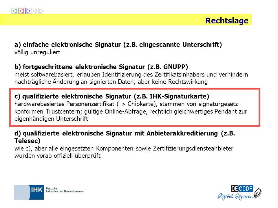 a) einfache elektronische Signatur (z.B. eingescannte Unterschrift) völlig unreguliert b) fortgeschrittene elektronische Signatur (z.B. GNUPP) meist s