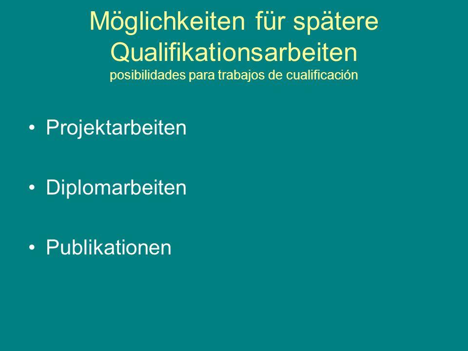 Möglichkeiten für spätere Qualifikationsarbeiten posibilidades para trabajos de cualificación Projektarbeiten Diplomarbeiten Publikationen