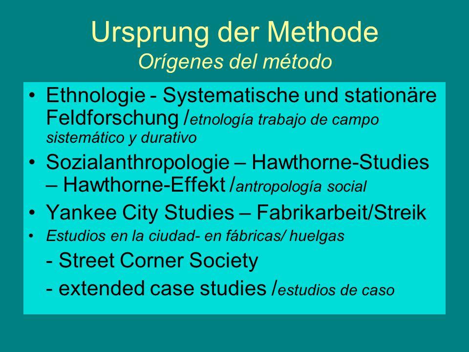 Ursprung der Methode Orígenes del método Ethnologie - Systematische und stationäre Feldforschung / etnología trabajo de campo sistemático y durativo S