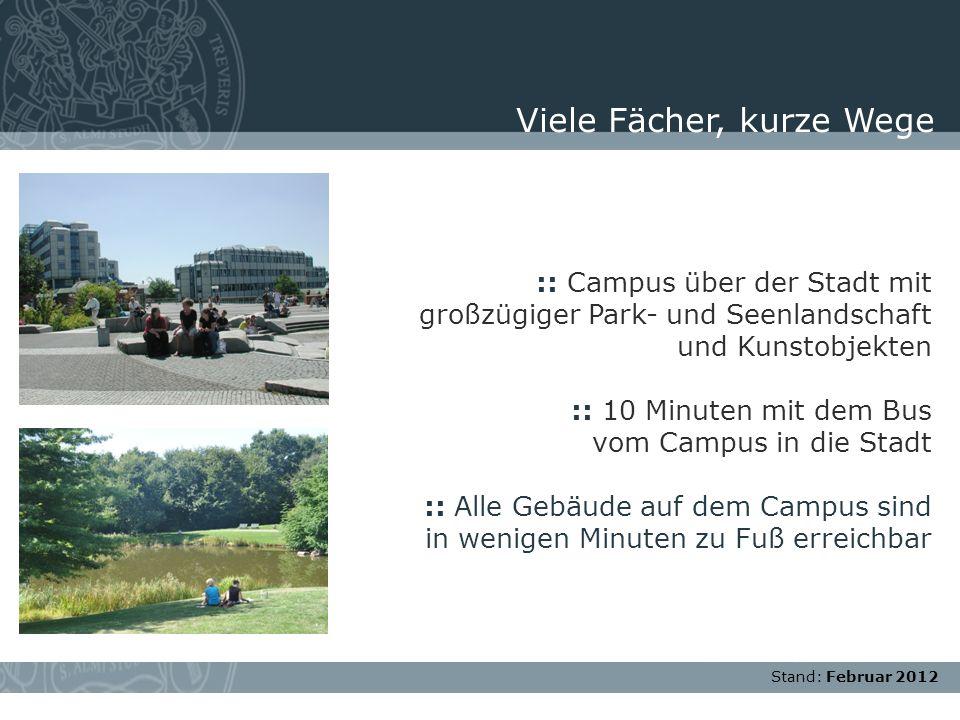 Stand: November 2007 :: Campus über der Stadt mit großzügiger Park- und Seenlandschaft und Kunstobjekten :: 10 Minuten mit dem Bus vom Campus in die S