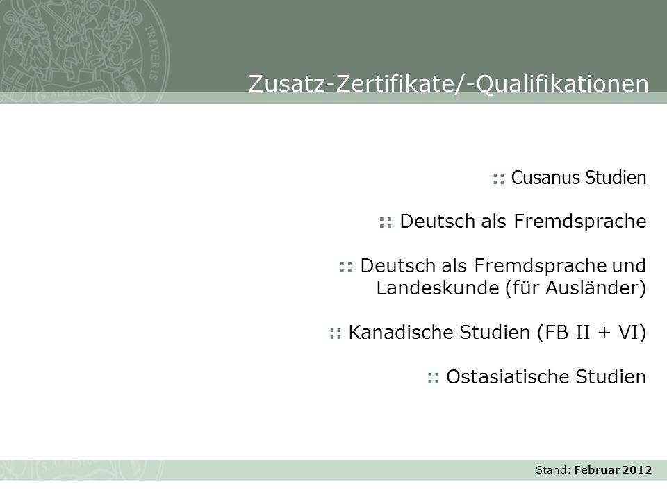 Stand: November 2007 :: Cusanus Studien :: Deutsch als Fremdsprache :: Deutsch als Fremdsprache und Landeskunde (für Ausländer) :: Kanadische Studien
