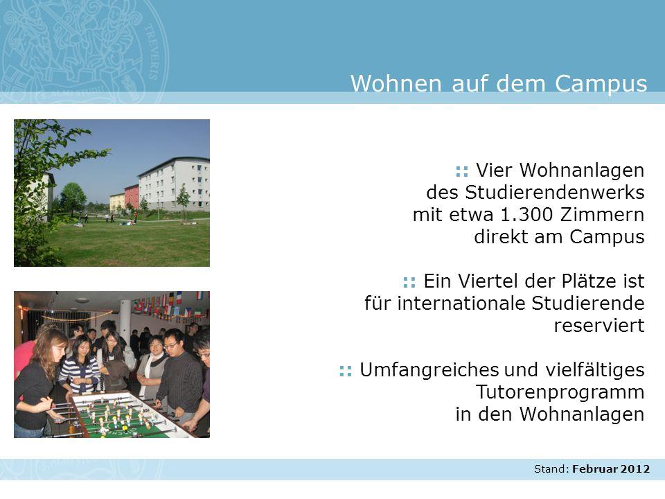 Stand: November 2007 :: Vier Wohnanlagen des Studierendenwerks mit etwa 1.300 Zimmern direkt am Campus :: Ein Viertel der Plätze ist für international