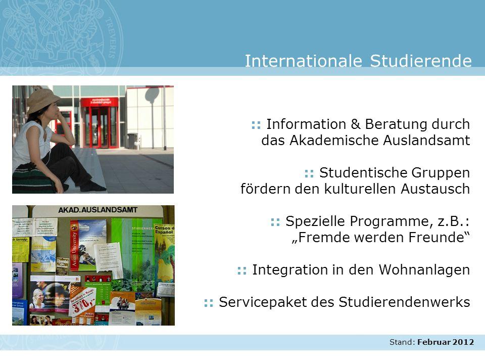Stand: November 2007 :: Information & Beratung durch das Akademische Auslandsamt :: Studentische Gruppen fördern den kulturellen Austausch :: Speziell