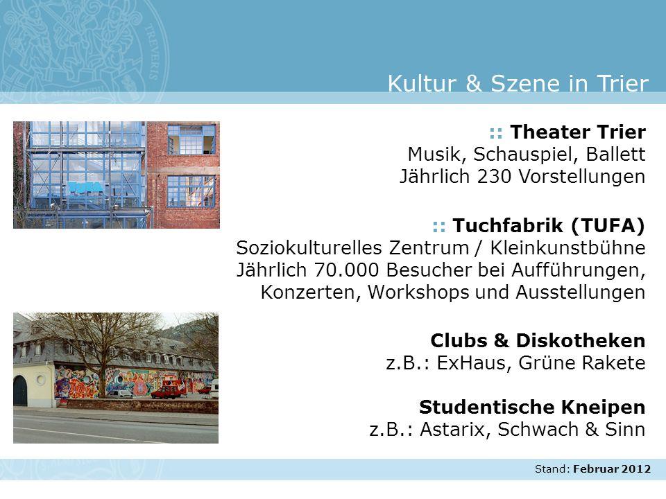 Stand: November 2007 :: Theater Trier Musik, Schauspiel, Ballett Jährlich 230 Vorstellungen :: Tuchfabrik (TUFA) Soziokulturelles Zentrum / Kleinkunst