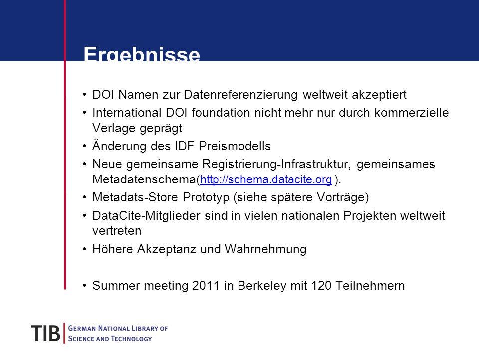 Ergebnisse DOI Namen zur Datenreferenzierung weltweit akzeptiert International DOI foundation nicht mehr nur durch kommerzielle Verlage geprägt Änderu