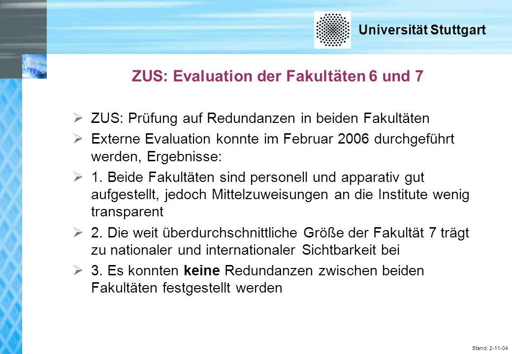 Universität Stuttgart Stand: 2-11-04 ZUS: Evaluation der Fakultäten 6 und 7 ZUS: Prüfung auf Redundanzen in beiden Fakultäten Externe Evaluation konnte im Februar 2006 durchgeführt werden, Ergebnisse: 1.