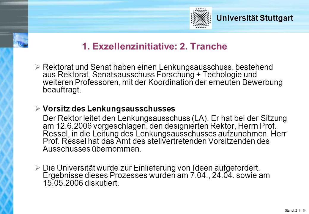 Universität Stuttgart Stand: 2-11-04 Sitzung des Lenkungsausschusses am 12.6.2006: Auswahl von 6 Exzellenzclustern und 3 Graduierten- schulen für die Evaluation Externe Gutachter: Prof.