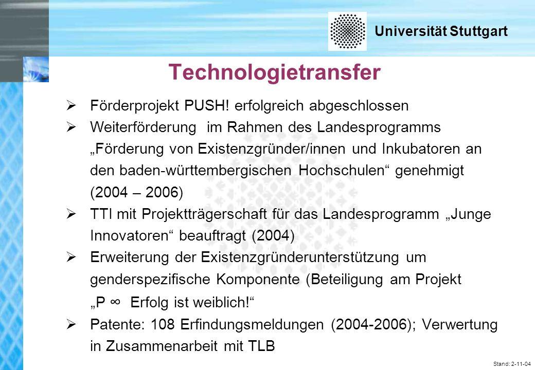 Universität Stuttgart Stand: 2-11-04 Technologietransfer F ö rderprojekt PUSH.