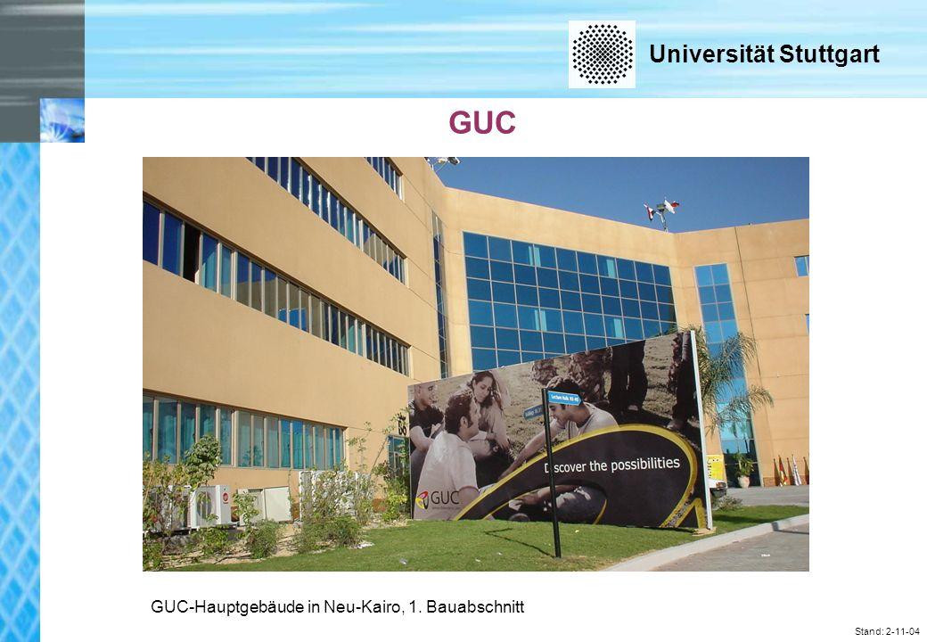 Universität Stuttgart Stand: 2-11-04 GUC GUC-Hauptgebäude in Neu-Kairo, 1. Bauabschnitt