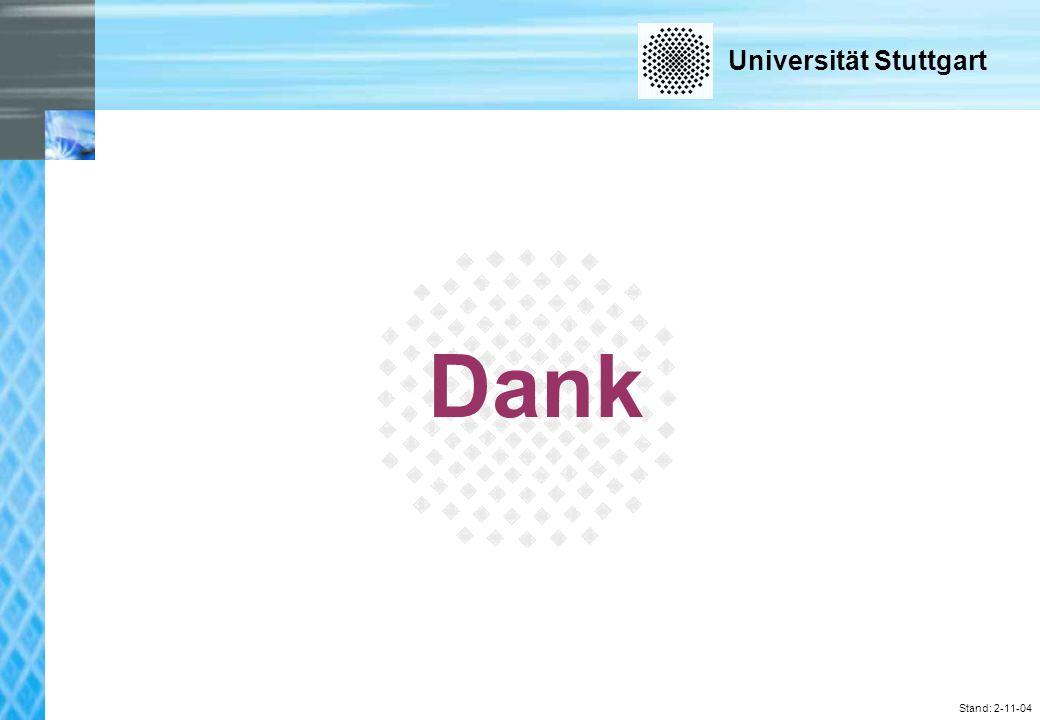 Universität Stuttgart Stand: 2-11-04 Dank