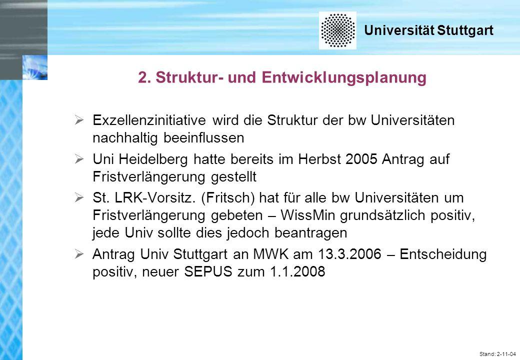 Universität Stuttgart Stand: 2-11-04 Drittmitteleinnahmen 2003-2006 (in T) nach Fakultäten Fakultät 2003200420052006 1 Architektur und Stadtplanung 9661.2991.3241.215 2 Bau- und Umwelt- ingenieurwissenschaften 13.99913.67112.27313.769 3Chemie 4.4253.8724.2645.466 4Geo- und Biowissenschaften 3.3262.6292.5982.246 5Informatik, Elektrotechnik und Informationstechnik 11.95911.07810.06310.779 6Luft- und Raumfahrttechnik und Geodäsie 10.1578.13617.84711.815 7Maschinenbau 45.68344.78647.73738.585 8Mathematik und Physik 6.6406.6205.8276.738 9Philosophisch-Historische Fakultät 2.1151.7541.8062.640 10Wirtschafts- und Sozialwissenschaften 2.1121.9641.8841.845 Sonstige Einrichtungen (z.B.