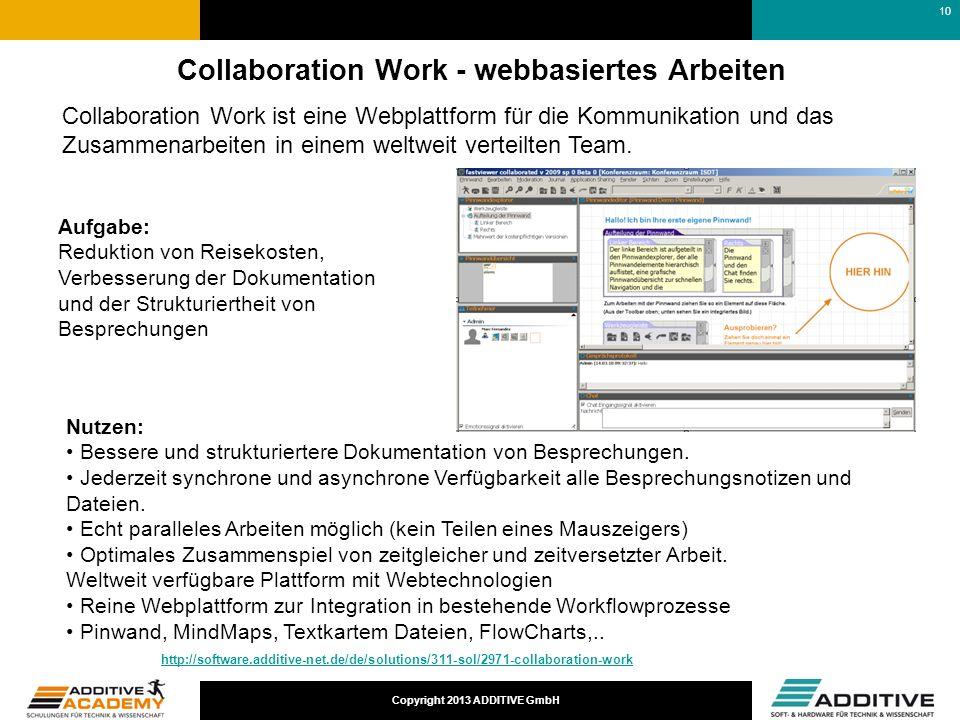 Copyright 2013 ADDITIVE GmbH Collaboration Work - webbasiertes Arbeiten Aufgabe: Reduktion von Reisekosten, Verbesserung der Dokumentation und der Str