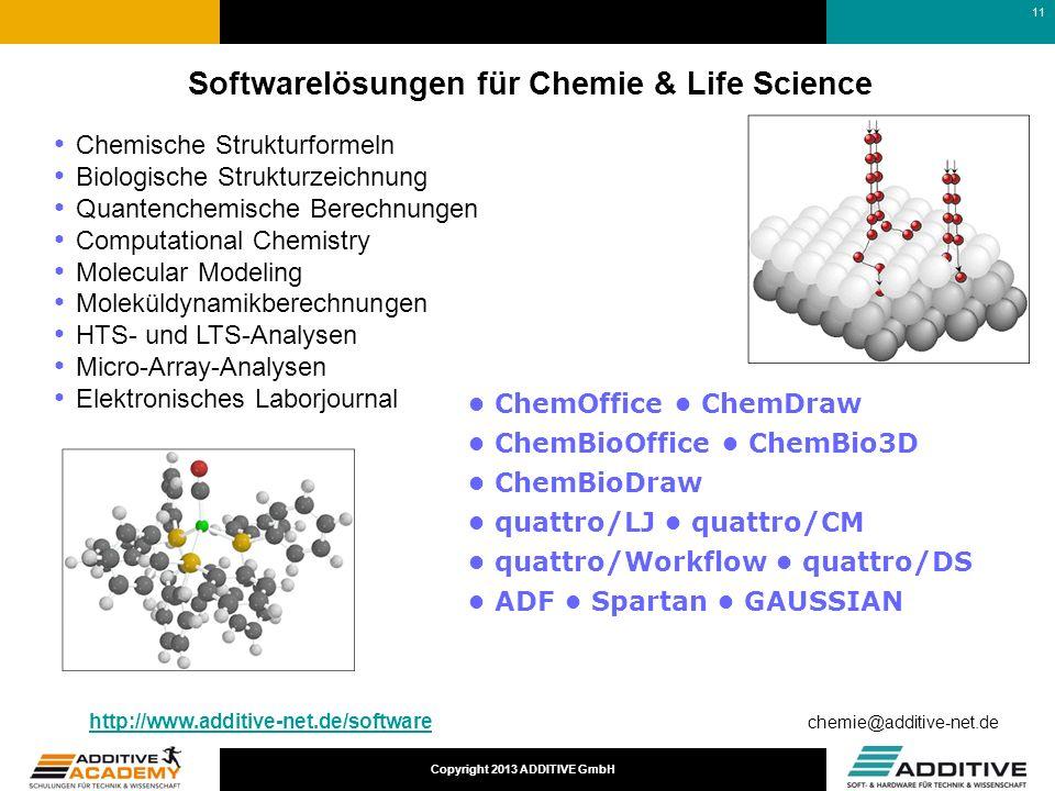 Copyright 2013 ADDITIVE GmbH Softwarelösungen für Chemie & Life Science Chemische Strukturformeln Biologische Strukturzeichnung Quantenchemische Berec