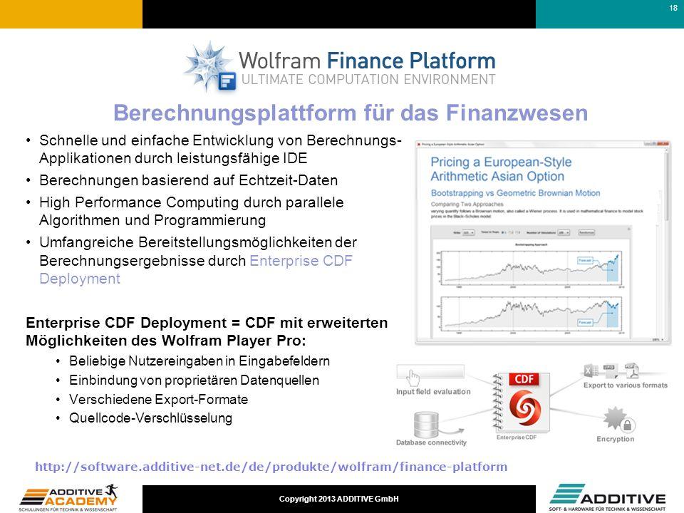 Copyright 2013 ADDITIVE GmbH Schnelle und einfache Entwicklung von Berechnungs- Applikationen durch leistungsfähige IDE Berechnungen basierend auf Ech