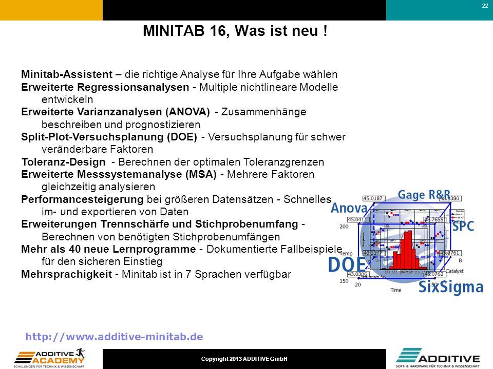 Copyright 2013 ADDITIVE GmbH MINITAB 16, Was ist neu ! Minitab-Assistent – die richtige Analyse für Ihre Aufgabe wählen Erweiterte Regressionsanalysen