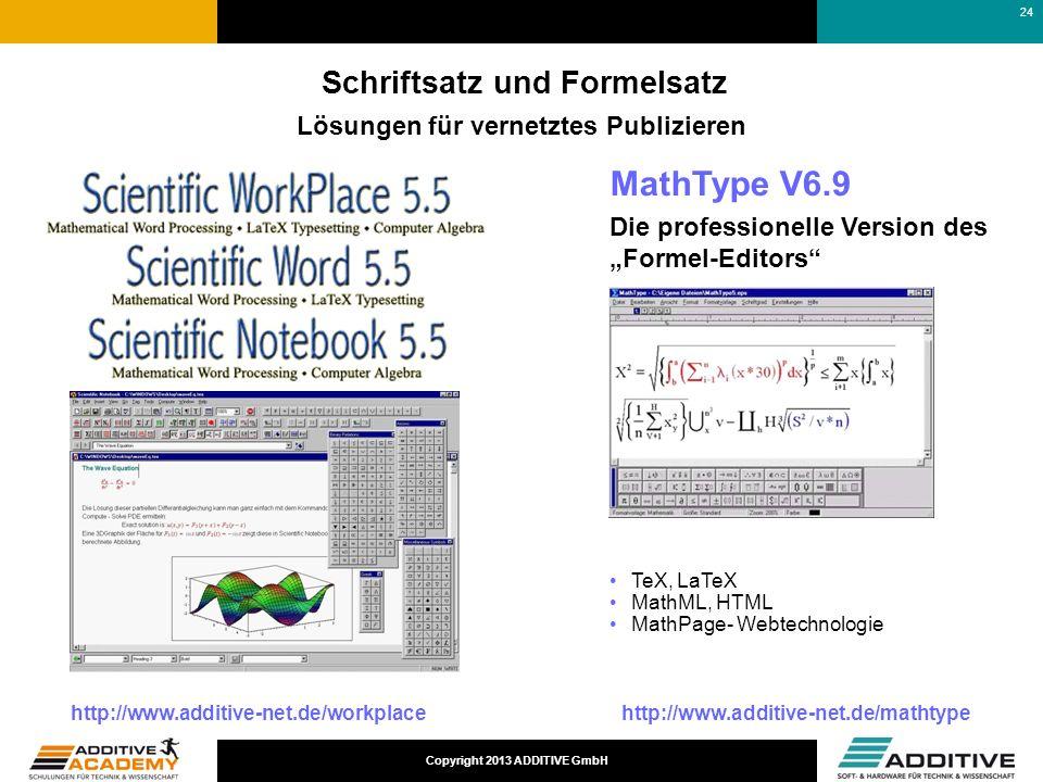 Copyright 2013 ADDITIVE GmbH Schriftsatz und Formelsatz Lösungen für vernetztes Publizieren http://www.additive-net.de/workplacehttp://www.additive-ne
