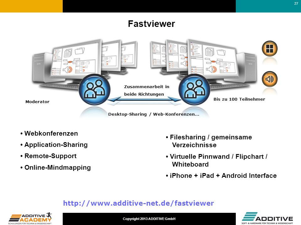 Copyright 2013 ADDITIVE GmbH Fastviewer Zusammenarbeit in beide Richtungen Bis zu 100 Teilnehmer Moderator Desktop-Sharing / Web-Konferenzen... Webkon