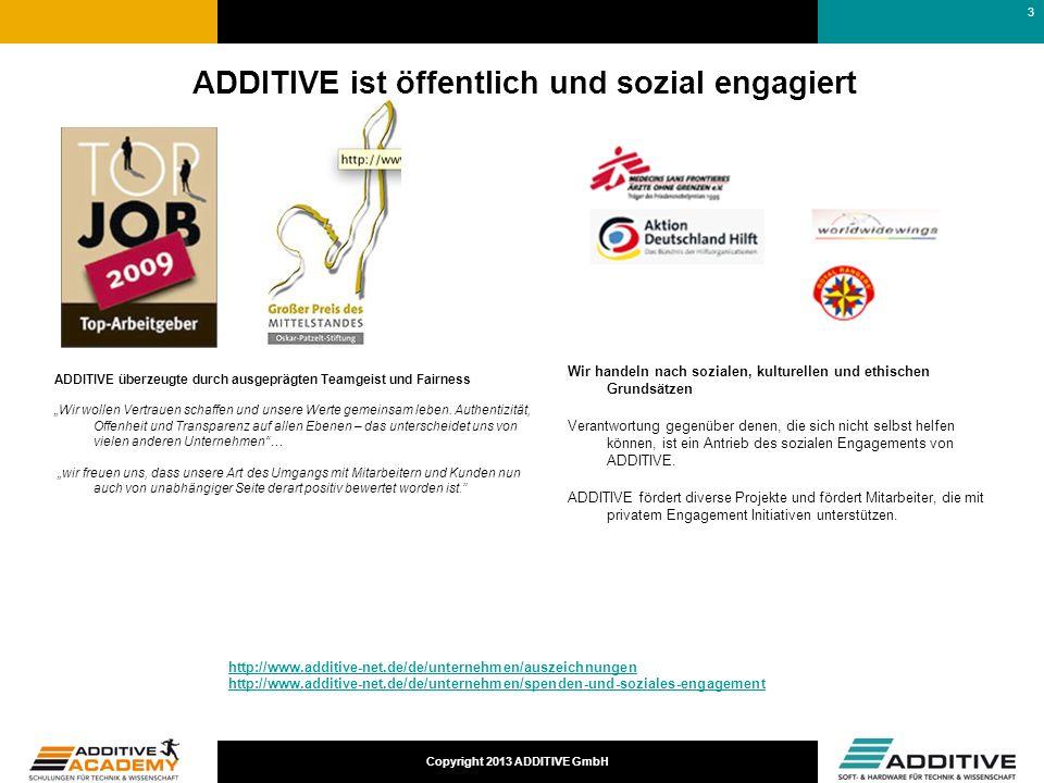 Copyright 2013 ADDITIVE GmbH ADDITIVE ist öffentlich und sozial engagiert ADDITIVE überzeugte durch ausgeprägten Teamgeist und Fairness Wir wollen Ver
