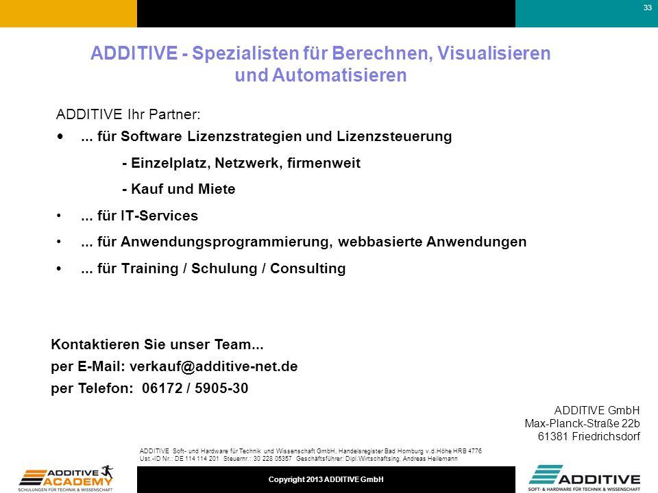 Copyright 2013 ADDITIVE GmbH ADDITIVE Ihr Partner:... für Software Lizenzstrategien und Lizenzsteuerung - Einzelplatz, Netzwerk, firmenweit - Kauf und