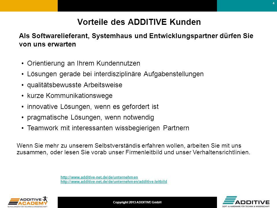 Copyright 2013 ADDITIVE GmbH Vorteile des ADDITIVE Kunden Als Softwarelieferant, Systemhaus und Entwicklungspartner dürfen Sie von uns erwarten Orient