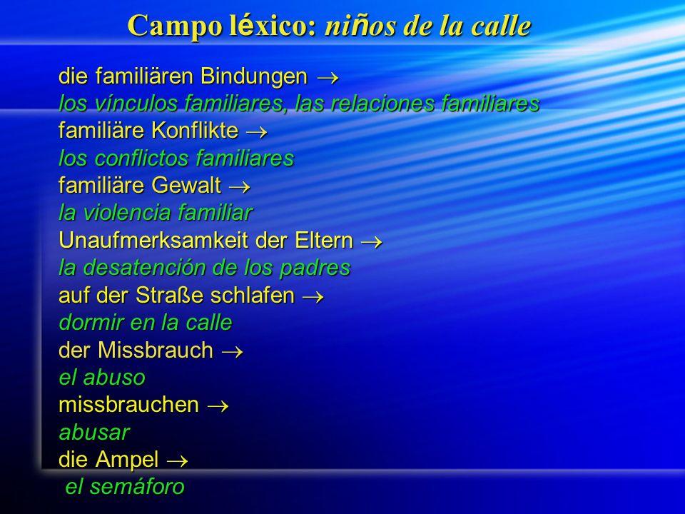 Campo l é xico: ni ñ os de la calle die familiären Bindungen die familiären Bindungen los vínculos familiares, las relaciones familiares familiäre Kon