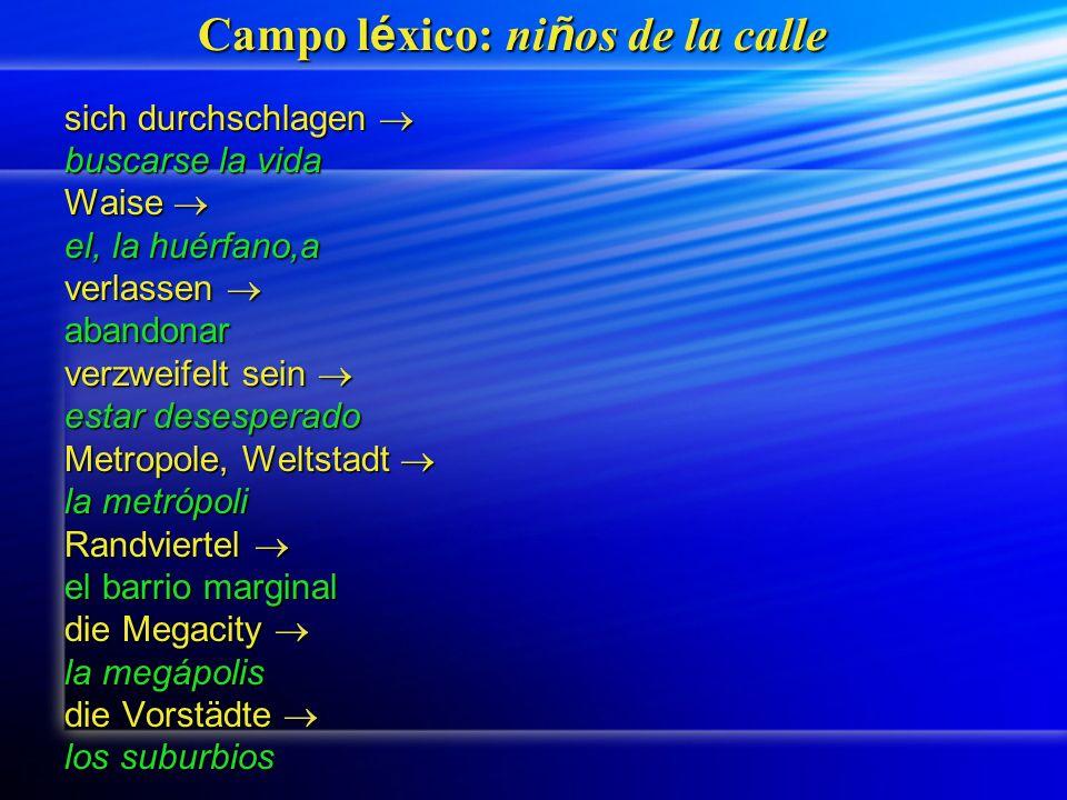Campo l é xico: ni ñ os de la calle sich durchschlagen sich durchschlagen buscarse la vida Waise Waise el, la huérfano,a verlassen verlassen abandonar